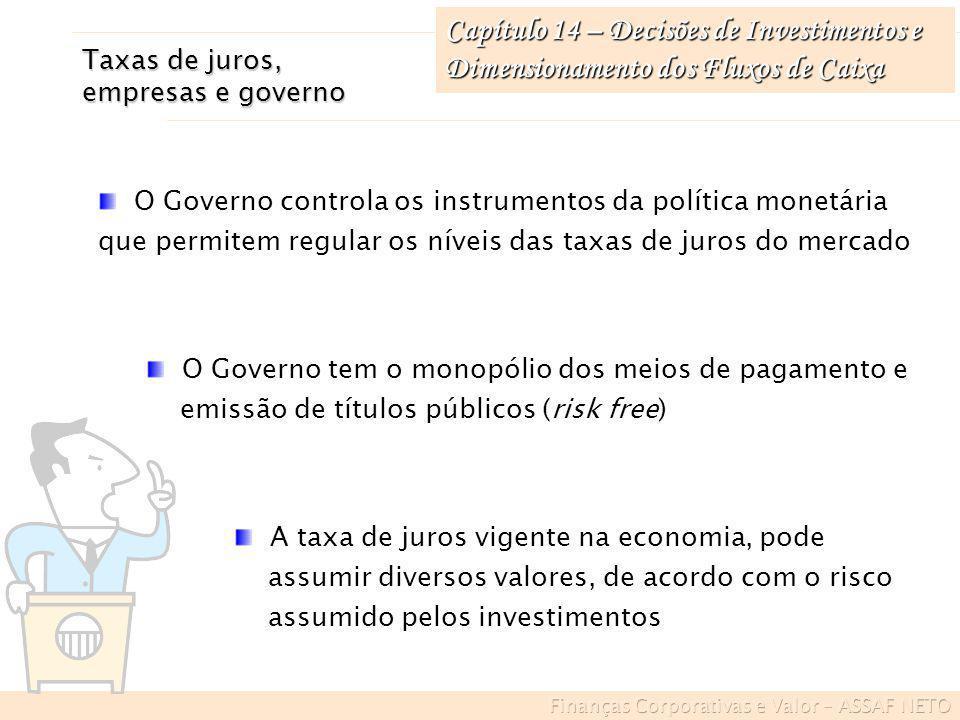 Capítulo 14 – Decisões de Investimentos e Dimensionamento dos Fluxos de Caixa Exemplo de mensuração do FC em inflação Início do ano 1IGP = 100,0 Final do ano 1IGP = 108,0 Final do ano 2IGP = 118,8 Final do ano 3IGP = 137,8 Final do ano 4IGP = 150,2 Final do ano 5IGP = 159,2 Índices gerais de preços (IGP) partindo-se do valor base de 100,00 no início do período: ANOPERDAS (IGP) 1 100 – [100 x (100/108)] = 7,4 IGP 2 100 – [100 x (100/118,8)] = 15,8 IGP 3 100 – [100 x (100/137,8)] = 27,4 IGP 4 100 – [100 x (100/150,2)] = 33,4 IGP 5 100 – [100 x (100/159,2)] = 37,2 IGP Cálculo das perdas dos ativos monetários diante da inflação, expressas em IGP