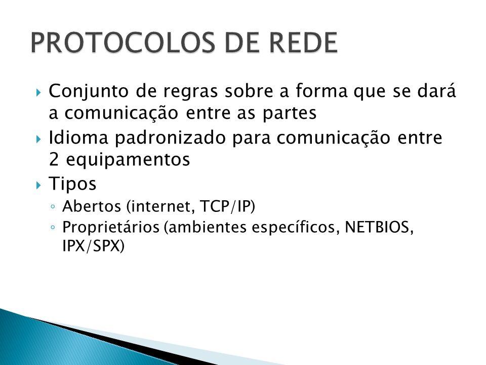 Conjunto de regras sobre a forma que se dará a comunicação entre as partes Idioma padronizado para comunicação entre 2 equipamentos Tipos Abertos (internet, TCP/IP) Proprietários (ambientes específicos, NETBIOS, IPX/SPX)
