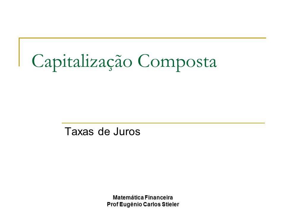 Matemática Financeira Prof Eugênio Carlos Stieler Juro Composto Cálculo do rendimento a Juros Compostos: Montante; Juros; Capital; Tempo; Taxa de juros; Equivalência em juros composto.