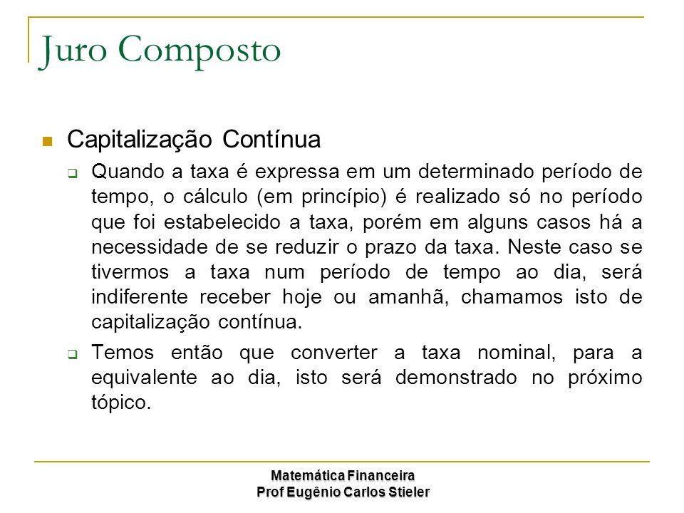 Matemática Financeira Prof Eugênio Carlos Stieler Juro Composto Capitalização Contínua Quando a taxa é expressa em um determinado período de tempo, o
