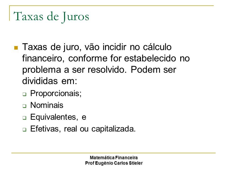 Matemática Financeira Prof Eugênio Carlos Stieler Taxas de Juros Taxas de juro, vão incidir no cálculo financeiro, conforme for estabelecido no proble
