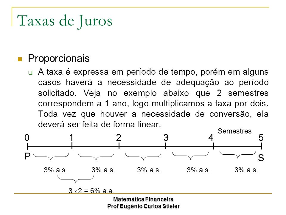 Matemática Financeira Prof Eugênio Carlos Stieler Taxas de Juros Proporcionais A taxa é expressa em período de tempo, porém em alguns casos haverá a n