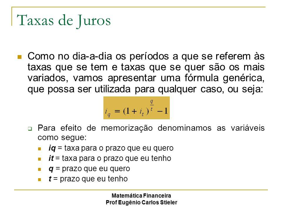 Matemática Financeira Prof Eugênio Carlos Stieler Taxas de Juros Como no dia-a-dia os períodos a que se referem às taxas que se tem e taxas que se que