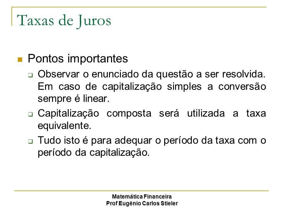 Matemática Financeira Prof Eugênio Carlos Stieler Taxas de Juros Pontos importantes Observar o enunciado da questão a ser resolvida. Em caso de capita