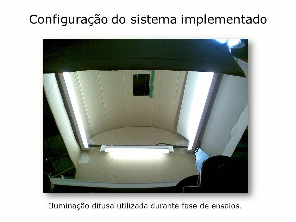 Configuração do sistema implementado Iluminação difusa utilizada durante fase de ensaios.