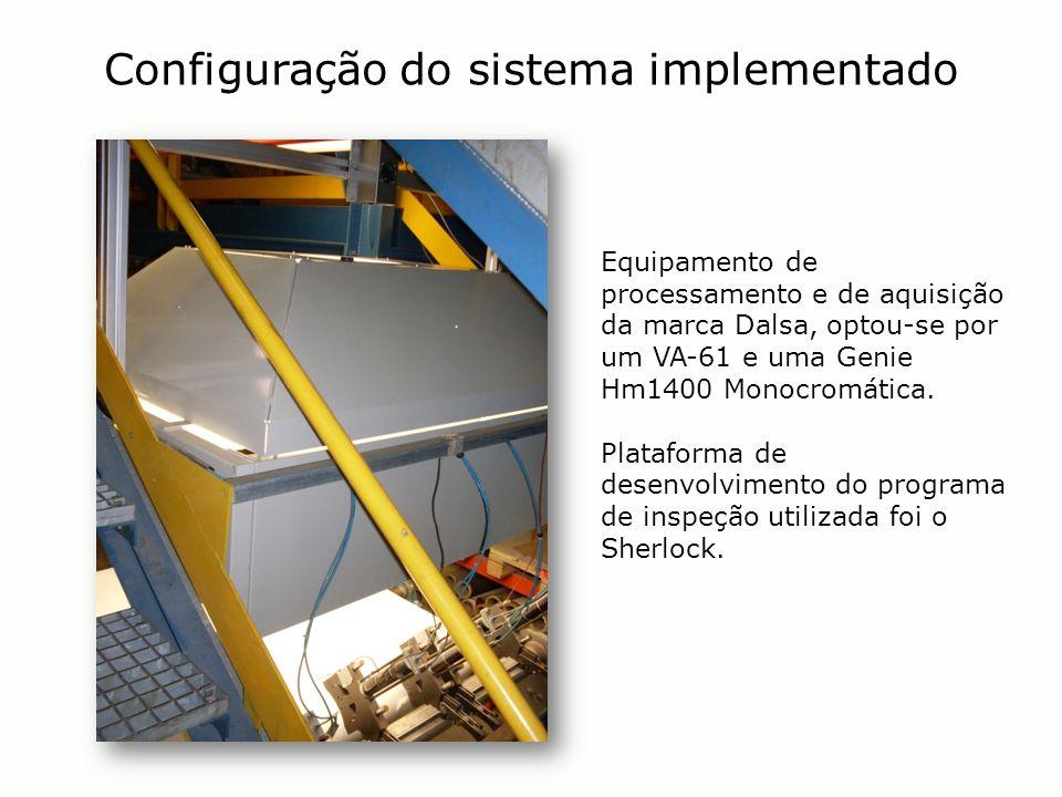 Configuração do sistema implementado Equipamento de processamento e de aquisição da marca Dalsa, optou-se por um VA-61 e uma Genie Hm1400 Monocromátic