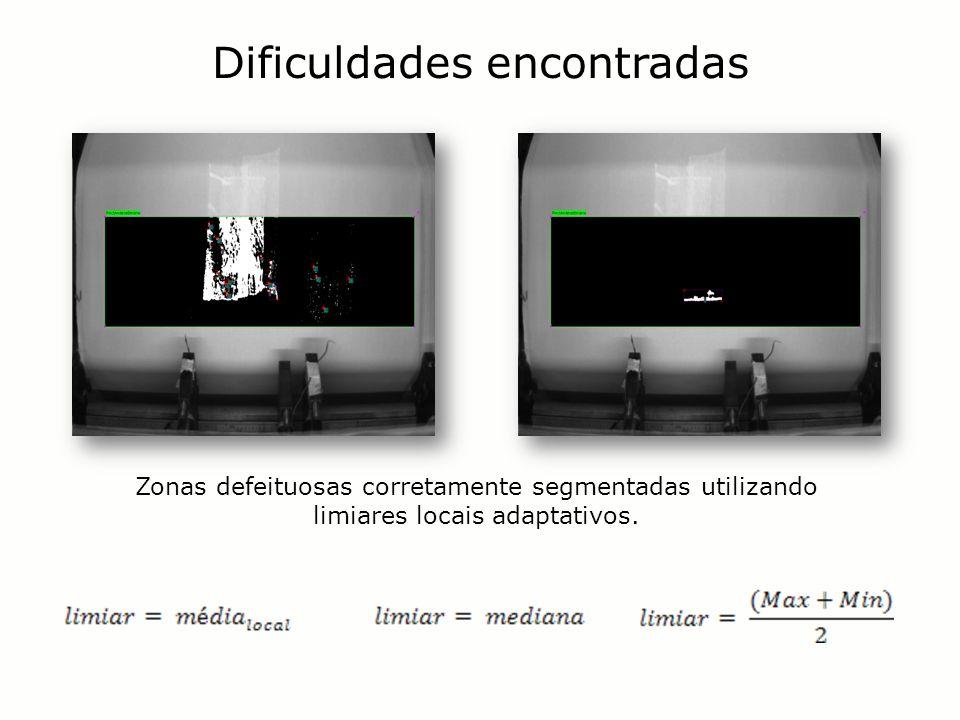 Dificuldades encontradas Zonas defeituosas corretamente segmentadas utilizando limiares locais adaptativos.