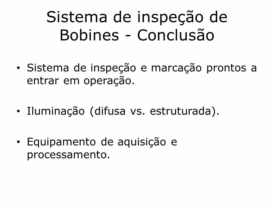 Sistema de inspeção de Bobines - Conclusão Sistema de inspeção e marcação prontos a entrar em operação. Iluminação (difusa vs. estruturada). Equipamen