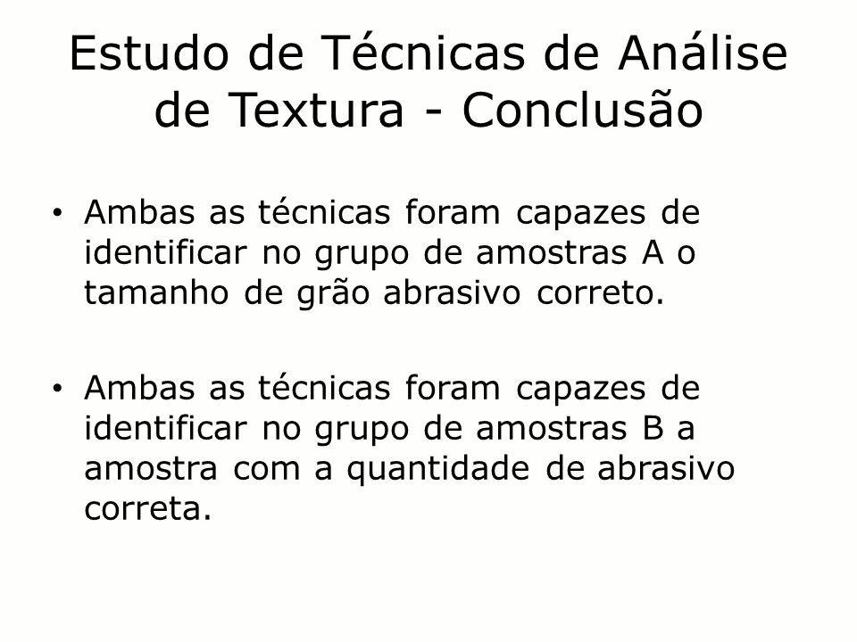 Estudo de Técnicas de Análise de Textura - Conclusão Ambas as técnicas foram capazes de identificar no grupo de amostras A o tamanho de grão abrasivo