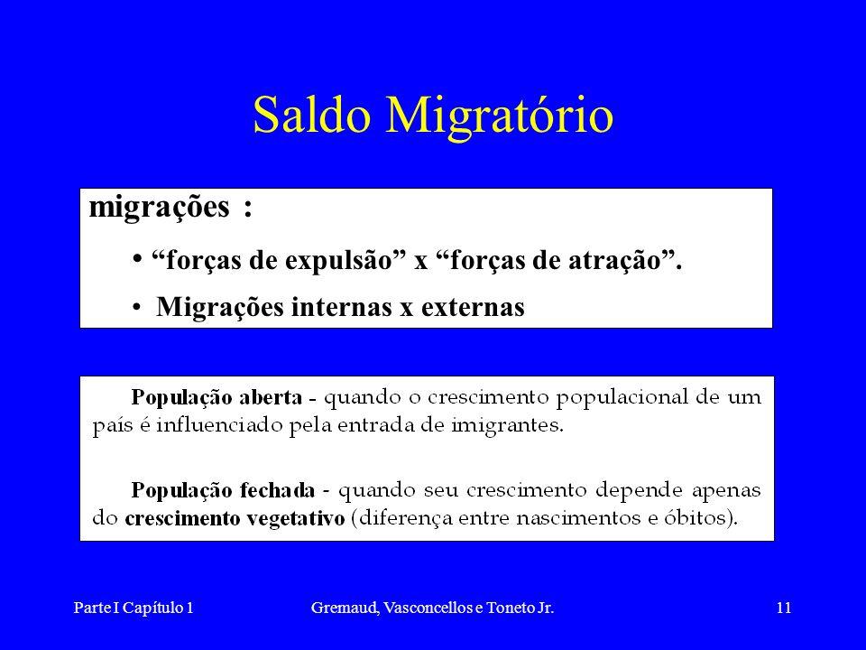 Parte I Capítulo 1Gremaud, Vasconcellos e Toneto Jr.11 Saldo Migratório migrações : forças de expulsão x forças de atração.