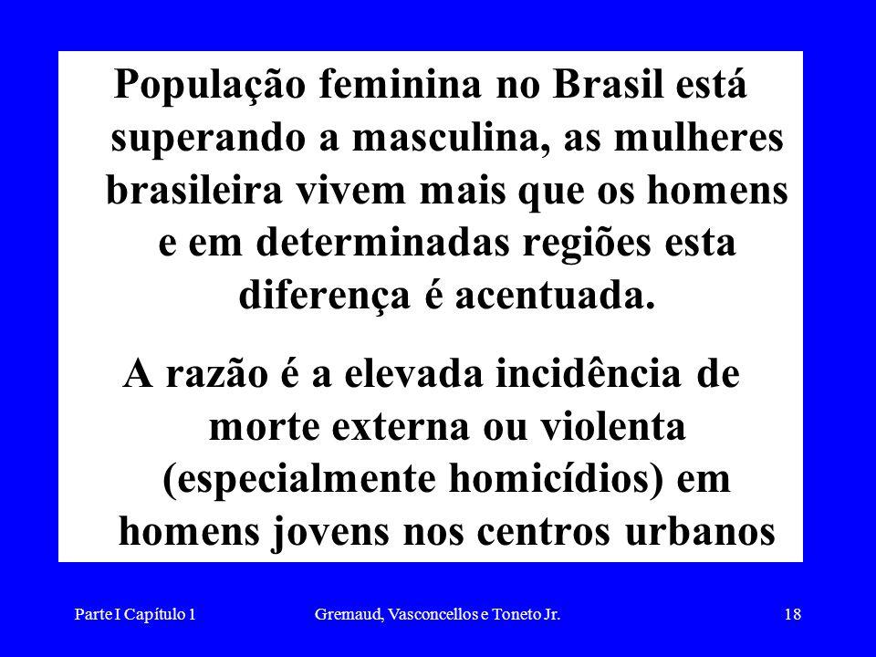 Parte I Capítulo 1Gremaud, Vasconcellos e Toneto Jr.18 População feminina no Brasil está superando a masculina, as mulheres brasileira vivem mais que os homens e em determinadas regiões esta diferença é acentuada.