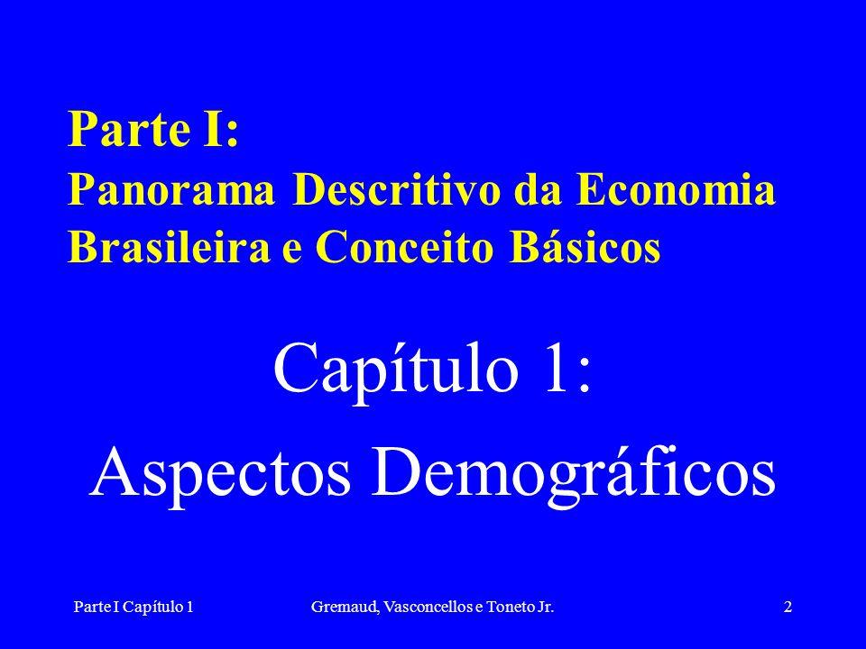 Parte I Capítulo 1Gremaud, Vasconcellos e Toneto Jr.2 Parte I: Panorama Descritivo da Economia Brasileira e Conceito Básicos Capítulo 1: Aspectos Demográficos