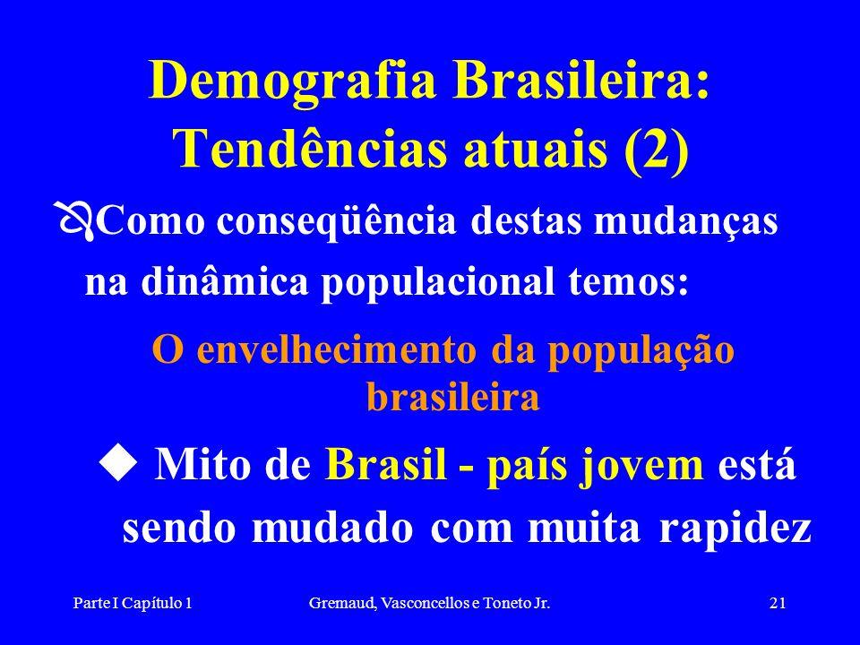 Parte I Capítulo 1Gremaud, Vasconcellos e Toneto Jr.21 Demografia Brasileira: Tendências atuais (2) Ô Como conseqüência destas mudanças na dinâmica populacional temos: O envelhecimento da população brasileira u Mito de Brasil - país jovem está sendo mudado com muita rapidez