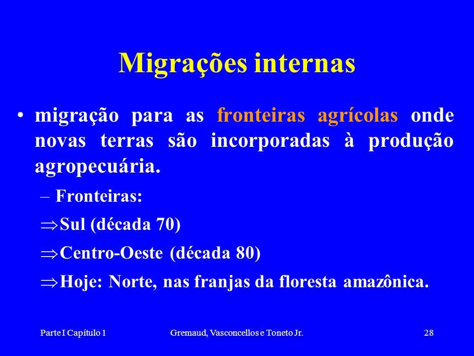 Parte I Capítulo 1Gremaud, Vasconcellos e Toneto Jr.28 Migrações internas migração para as fronteiras agrícolas onde novas terras são incorporadas à produção agropecuária.