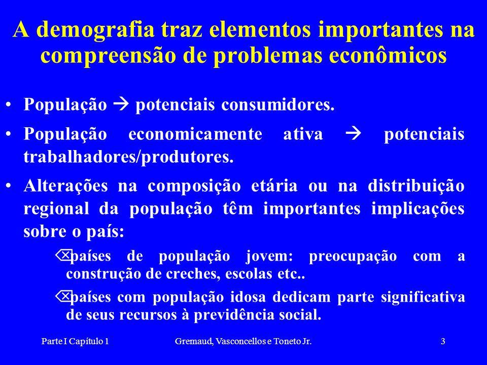 Parte I Capítulo 1Gremaud, Vasconcellos e Toneto Jr.3 A demografia traz elementos importantes na compreensão de problemas econômicos População potenciais consumidores.