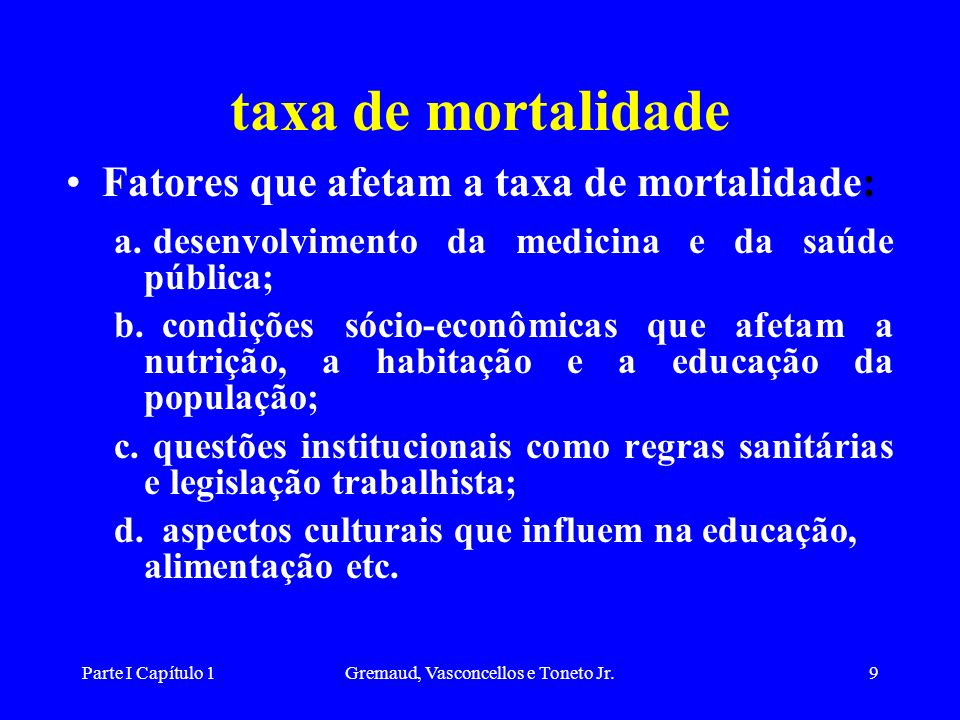 Parte I Capítulo 1Gremaud, Vasconcellos e Toneto Jr.9 taxa de mortalidade Fatores que afetam a taxa de mortalidade: a.