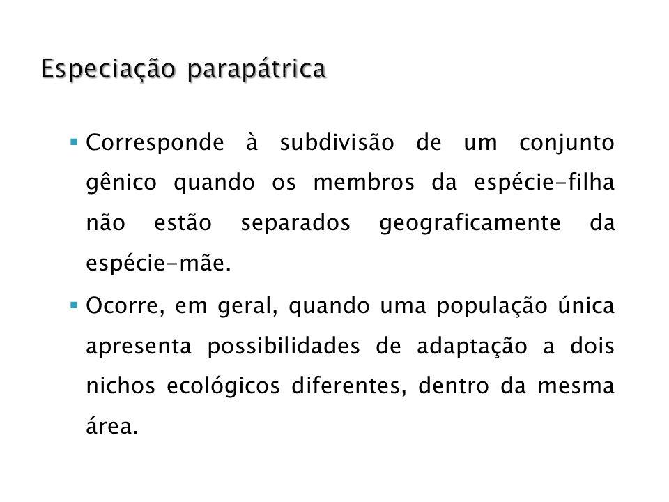 Corresponde à subdivisão de um conjunto gênico quando os membros da espécie-filha não estão separados geograficamente da espécie-mãe.