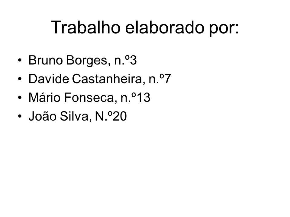Trabalho elaborado por: Bruno Borges, n.º3 Davide Castanheira, n.º7 Mário Fonseca, n.º13 João Silva, N.º20