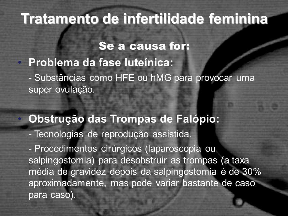 Tratamento de infertilidade feminina Se a causa for: Problema da fase luteínica: - Substâncias como HFE ou hMG para provocar uma super ovulação. Obstr