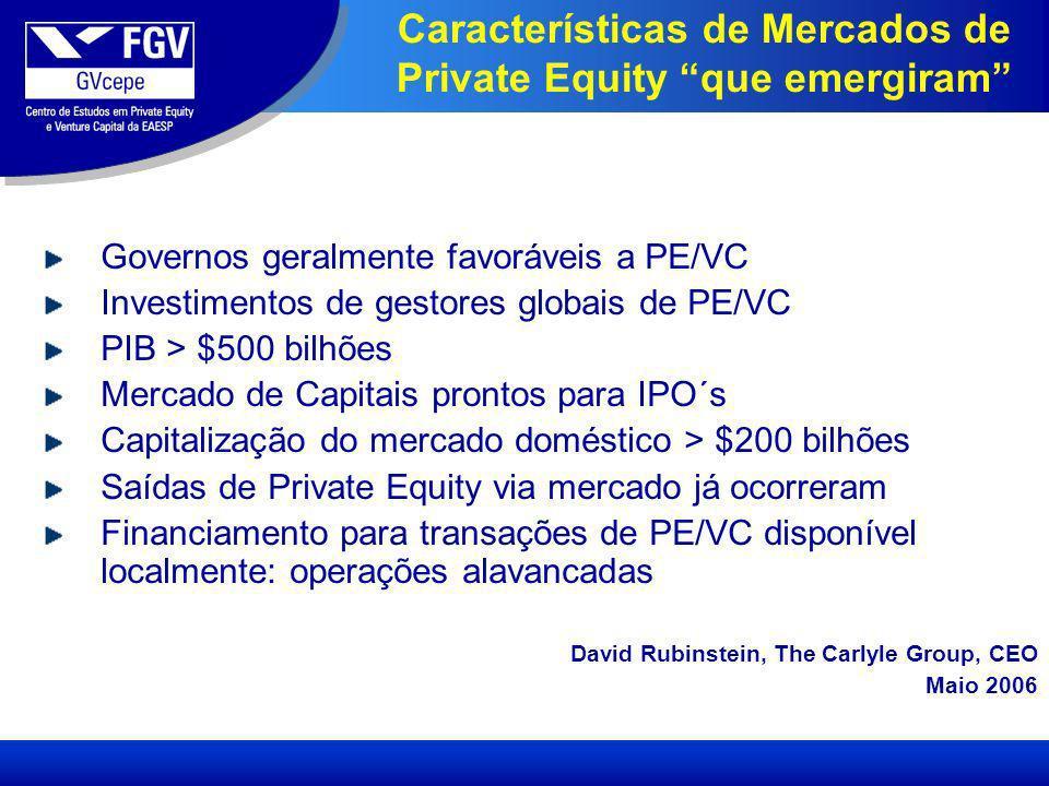 Características de Mercados de Private Equity que emergiram Governos geralmente favoráveis a PE/VC Investimentos de gestores globais de PE/VC PIB > $500 bilhões Mercado de Capitais prontos para IPO´s Capitalização do mercado doméstico > $200 bilhões Saídas de Private Equity via mercado já ocorreram Financiamento para transações de PE/VC disponível localmente: operações alavancadas David Rubinstein, The Carlyle Group, CEO Maio 2006