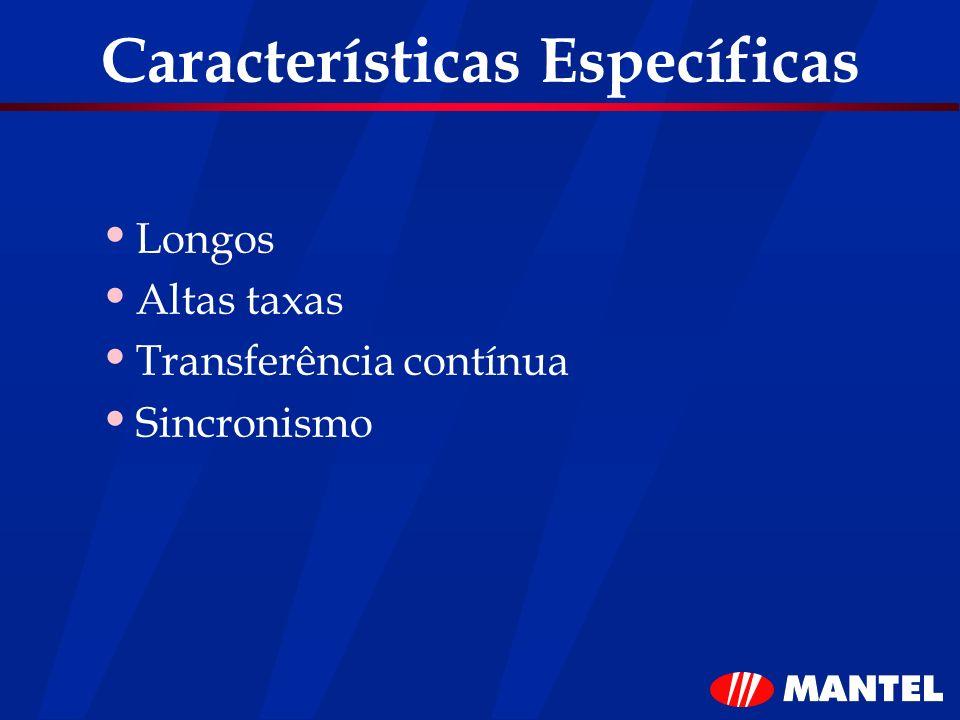 Características Específicas Longos Altas taxas Transferência contínua Sincronismo