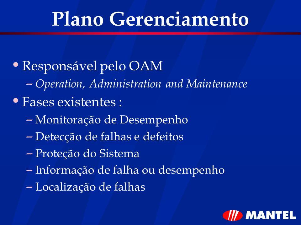Plano Gerenciamento Responsável pelo OAM – Operation, Administration and Maintenance Fases existentes : – Monitoração de Desempenho – Detecção de falh