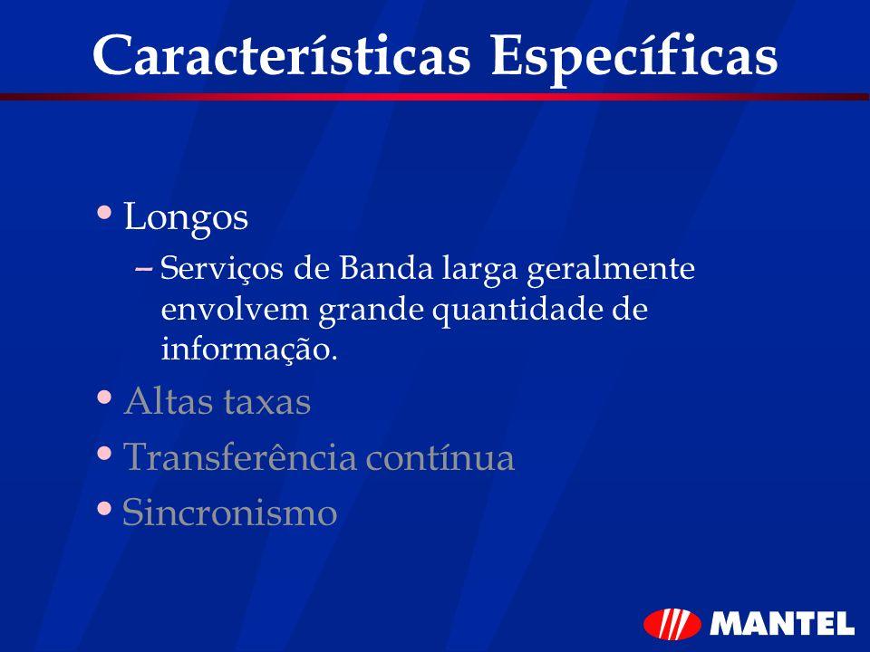 Características Específicas Longos – Serviços de Banda larga geralmente envolvem grande quantidade de informação. Altas taxas Transferência contínua S