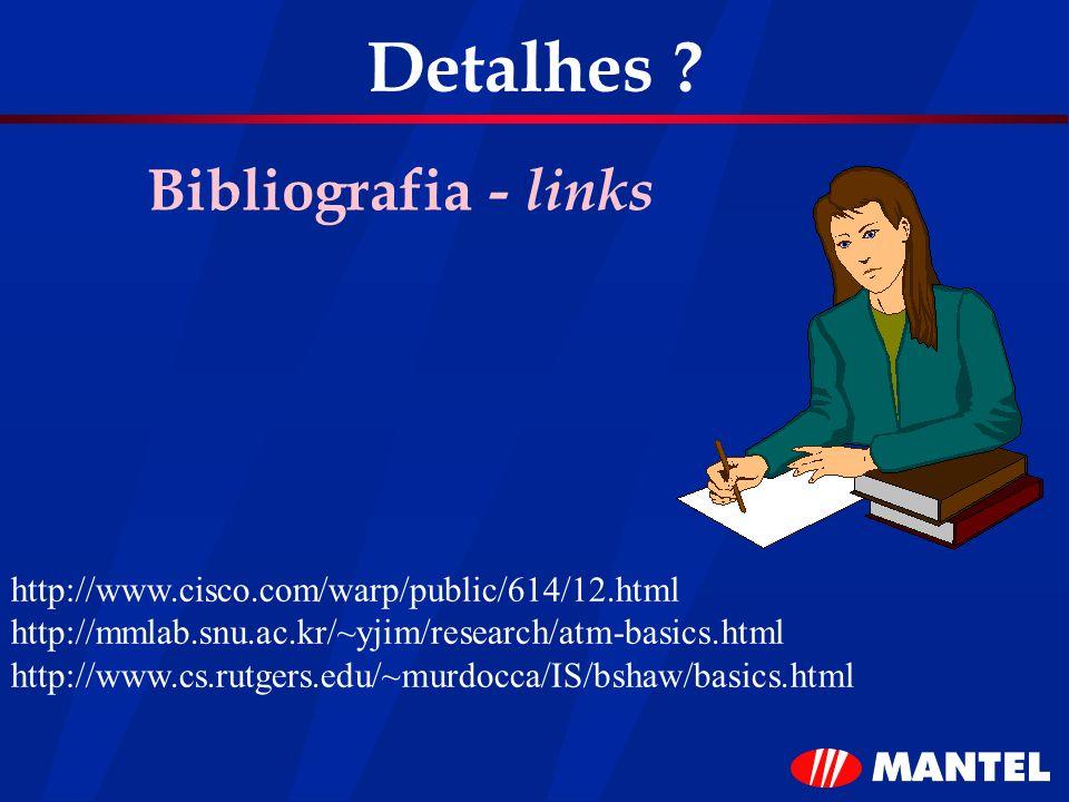Detalhes ? Bibliografia - links http://www.cisco.com/warp/public/614/12.html http://mmlab.snu.ac.kr/~yjim/research/atm-basics.html http://www.cs.rutge