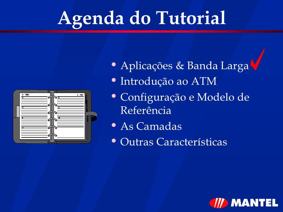 Agenda do Tutorial Aplicações & Banda Larga Introdução ao ATM Configuração e Modelo de Referência As Camadas Outras Características