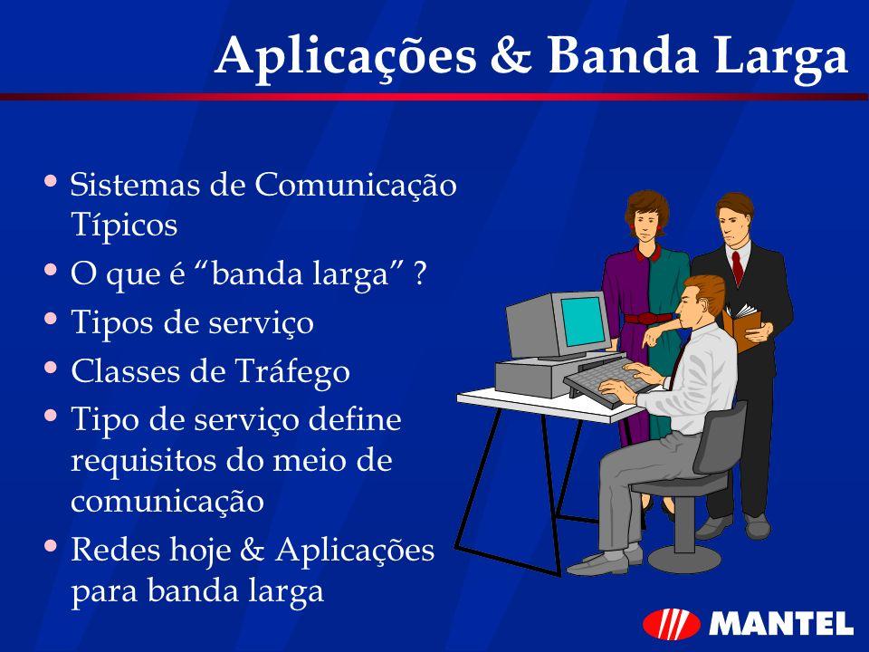 Aplicações & Banda Larga Sistemas de Comunicação Típicos O que é banda larga ? Tipos de serviço Classes de Tráfego Tipo de serviço define requisitos d