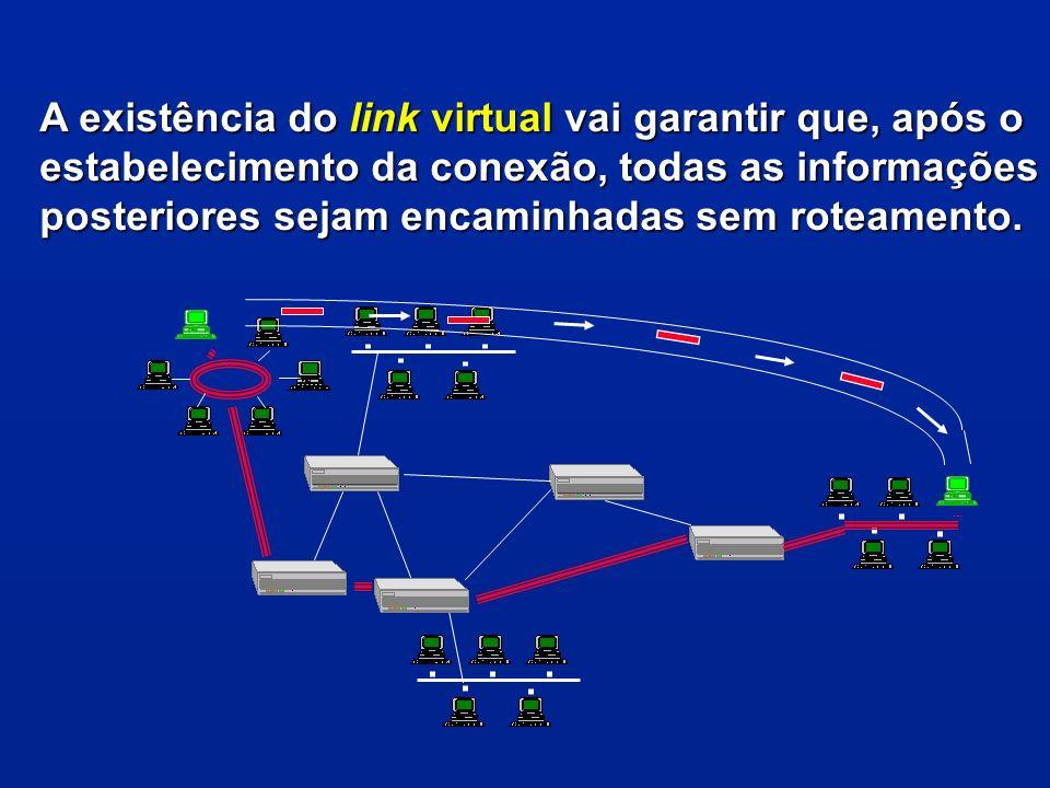A existência do link virtual vai garantir que, após o estabelecimento da conexão, todas as informações posteriores sejam encaminhadas sem roteamento.