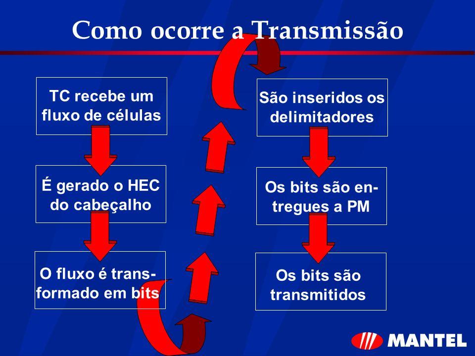 Como ocorre a Transmissão TC recebe um fluxo de células É gerado o HEC do cabeçalho O fluxo é trans- formado em bits São inseridos os delimitadores Os