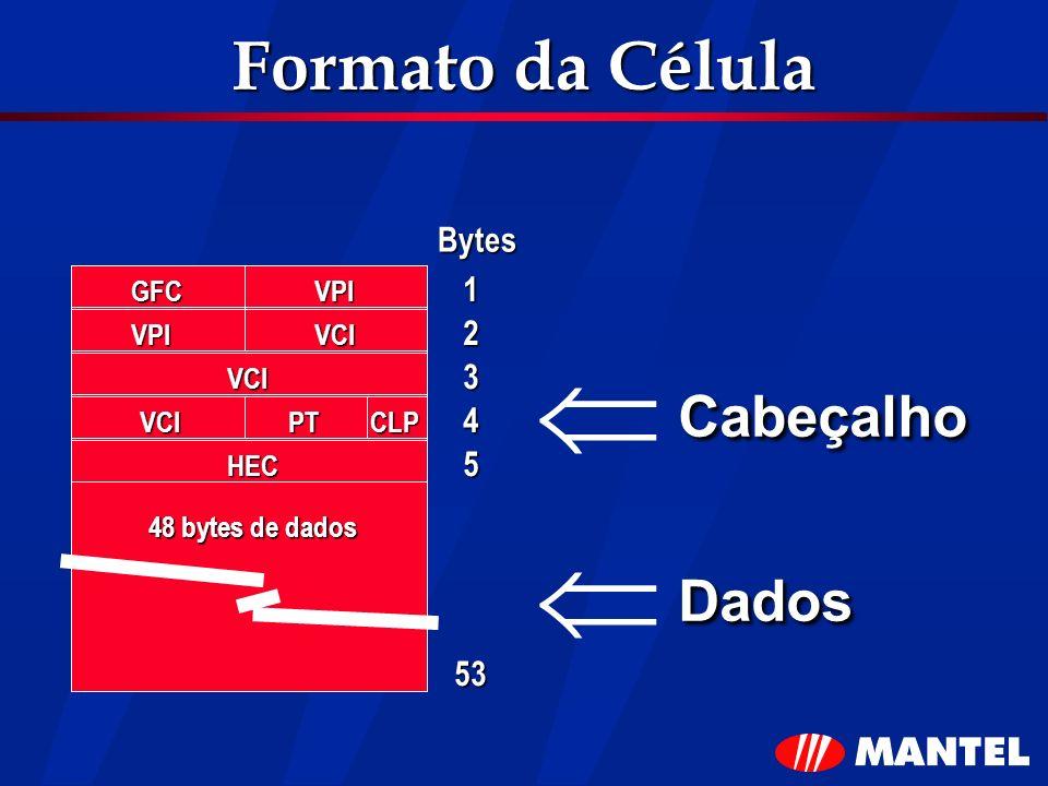 Formato da Célula Cabeçalho Dados Bytes GFCVPI VPIVCI VCI VCIPTCLP HEC 48 bytes de dados 1 2 3 4 5 53