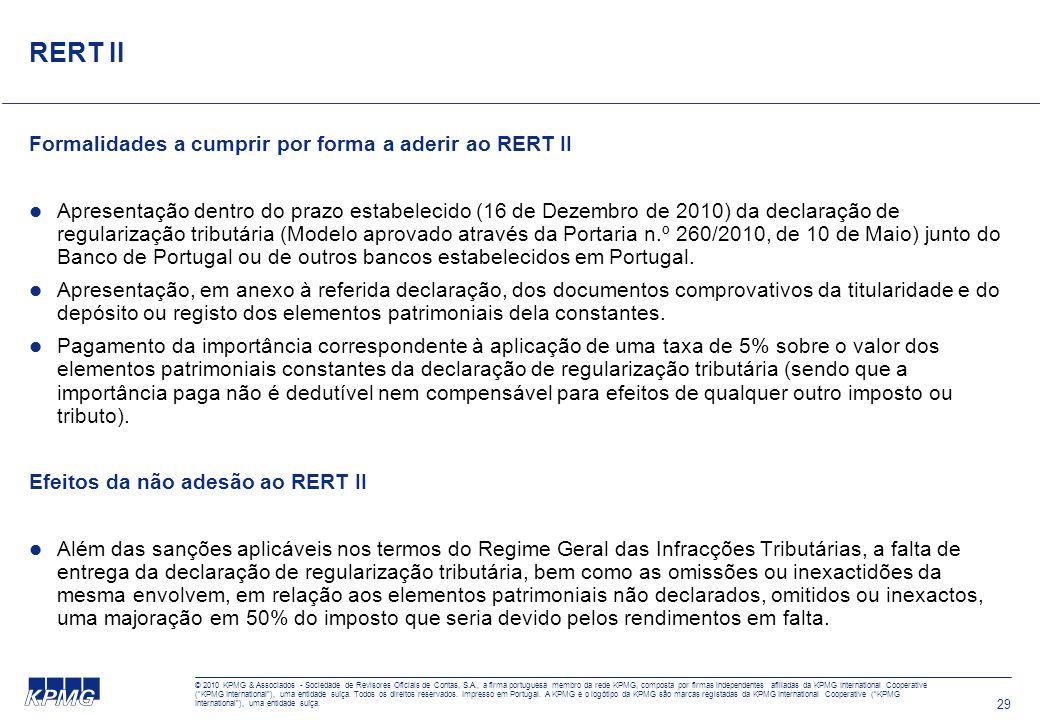 © 2010 KPMG & Associados - Sociedade de Revisores Oficiais de Contas, S.A., a firma portuguesa membro da rede KPMG, composta por firmas independentes
