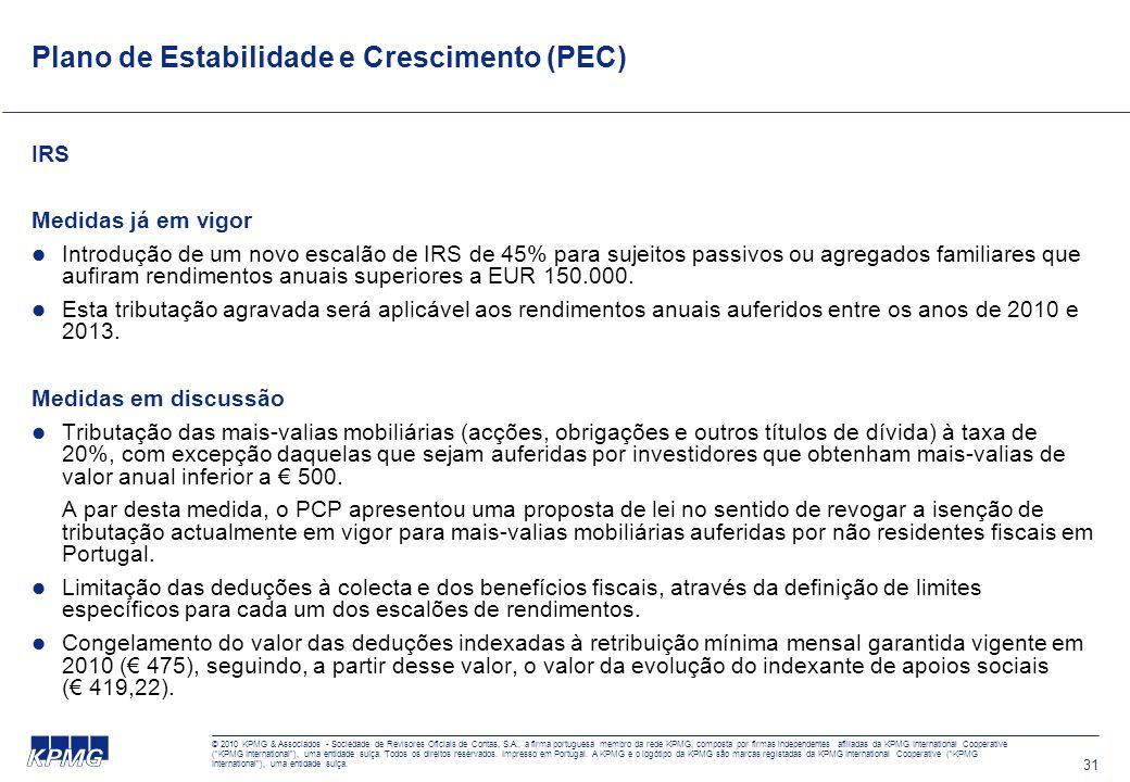31 Plano de Estabilidade e Crescimento (PEC) IRS Medidas já em vigor Introdução de um novo escalão de IRS de 45% para sujeitos passivos ou agregados familiares que aufiram rendimentos anuais superiores a EUR 150.000.