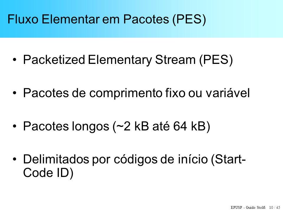 EPUSP - Guido Stolfi 10 / 45 Fluxo Elementar em Pacotes (PES) Packetized Elementary Stream (PES) Pacotes de comprimento fixo ou variável Pacotes longos (~2 kB até 64 kB) Delimitados por códigos de início (Start- Code ID)