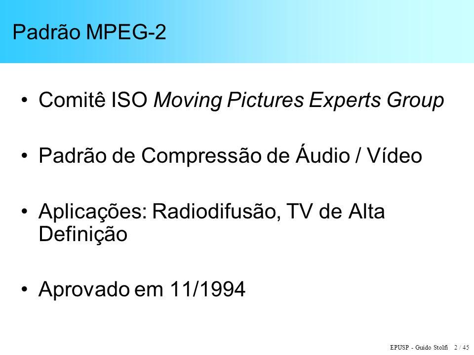 EPUSP - Guido Stolfi 43 / 45 Outros Processos de Compressão de Vídeo Windows Media Video 9 (SMPTE VC-1) –Similar ao H.264 –Transformadas DCT 8 x 8, 8 x 4, 4 x 8 e 4 x 4 –Transformada inteira –Tabelas VLC múltiplas, podem ser chaveadas quadro a quadro –Codificação eficiente em cenas com fading