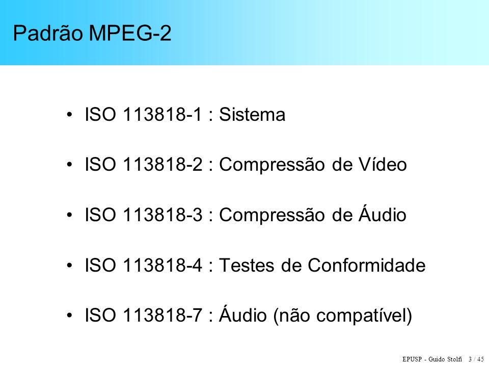EPUSP - Guido Stolfi 3 / 45 Padrão MPEG-2 ISO 113818-1 : Sistema ISO 113818-2 : Compressão de Vídeo ISO 113818-3 : Compressão de Áudio ISO 113818-4 : Testes de Conformidade ISO 113818-7 : Áudio (não compatível)