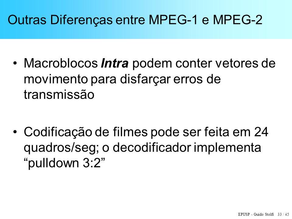 EPUSP - Guido Stolfi 33 / 45 Outras Diferenças entre MPEG-1 e MPEG-2 Macroblocos Intra podem conter vetores de movimento para disfarçar erros de transmissão Codificação de filmes pode ser feita em 24 quadros/seg; o decodificador implementa pulldown 3:2