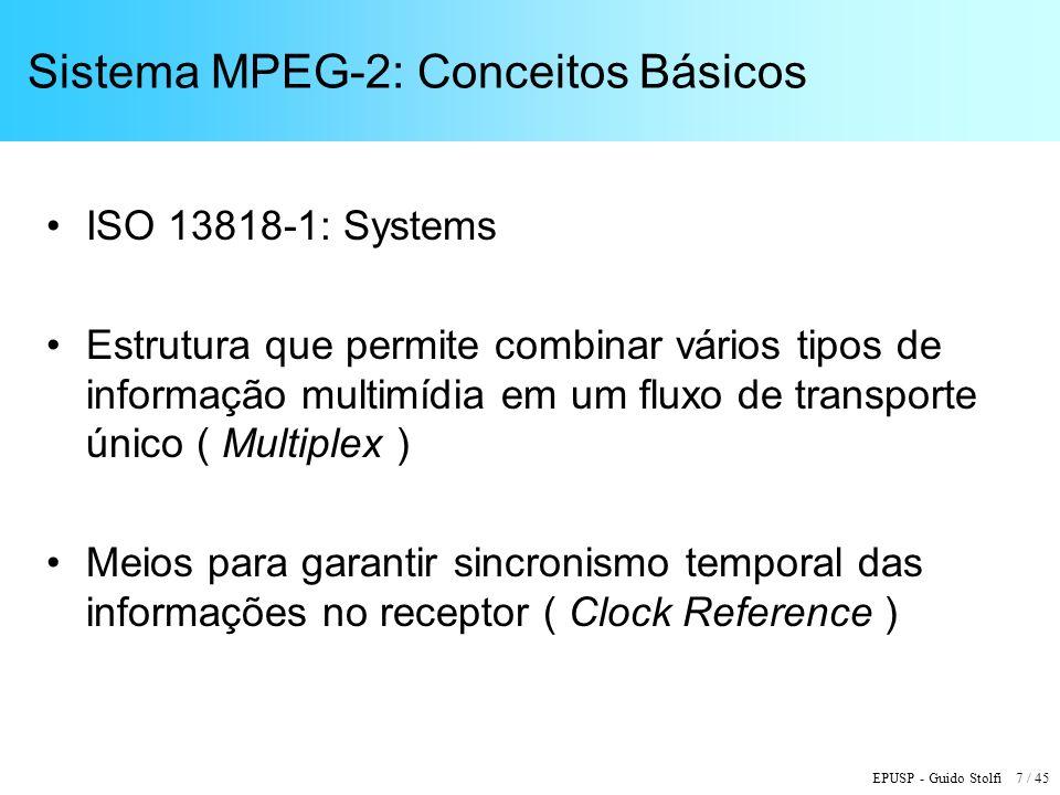 EPUSP - Guido Stolfi 18 / 45 Descrição do PID (Packet Identifier) X Programa TV / Outros PPPPPPPP Número do Programa (1 - 255) TTTT Tipo de Pacote: 0h = Mapa de Programa 1h = Vídeo 4h = Áudio Principal 5h = Áudio Secundário Ah = Dados 1 11111111 1111 Pacote Nulo (8191)