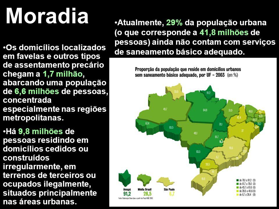 Moradia Os domicílios localizados em favelas e outros tipos de assentamento precário chegam a 1,7 milhão, abarcando uma população de 6,6 milhões de pe