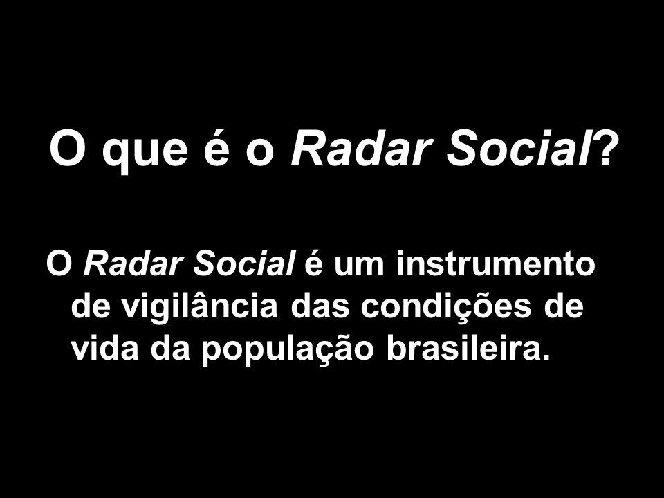 O que é o Radar Social? O Radar Social é um instrumento de vigilância das condições de vida da população brasileira.