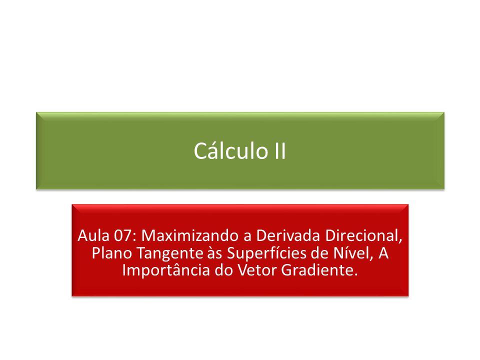 Cálculo II Aula 07: Maximizando a Derivada Direcional, Plano Tangente às Superfícies de Nível, A Importância do Vetor Gradiente.