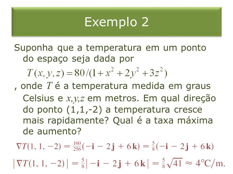 Exemplo 2 Suponha que a temperatura em um ponto do espaço seja dada por, onde T é a temperatura medida em graus Celsius e x,y,z em metros. Em qual dir