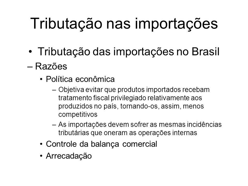 Tributação das importações no Brasil –Razões Política econômica –Objetiva evitar que produtos importados recebam tratamento fiscal privilegiado relati