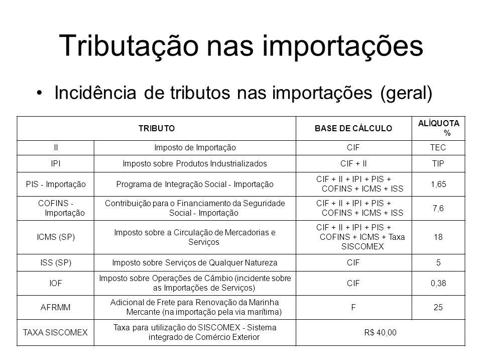 TRIBUTOBASE DE CÁLCULO ALÍQUOTA % IIImposto de ImportaçãoCIFTEC IPIImposto sobre Produtos IndustrializadosCIF + IITIP PIS - ImportaçãoPrograma de Integração Social - Importação CIF + II + IPI + PIS + COFINS + ICMS + ISS 1,65 COFINS - Importação Contribuição para o Financiamento da Seguridade Social - Importação CIF + II + IPI + PIS + COFINS + ICMS + ISS 7,6 ICMS (SP) Imposto sobre a Circulação de Mercadorias e Serviços CIF + II + IPI + PIS + COFINS + ICMS + Taxa SISCOMEX 18 ISS (SP)Imposto sobre Serviços de Qualquer NaturezaCIF5 IOF Imposto sobre Operações de Câmbio (incidente sobre as Importações de Serviços) CIF0,38 AFRMM Adicional de Frete para Renovação da Marinha Mercante (na importação pela via marítima) F25 TAXA SISCOMEX Taxa para utilização do SISCOMEX - Sistema integrado de Comércio Exterior R$ 40,00 Incidência de tributos nas importações (geral)