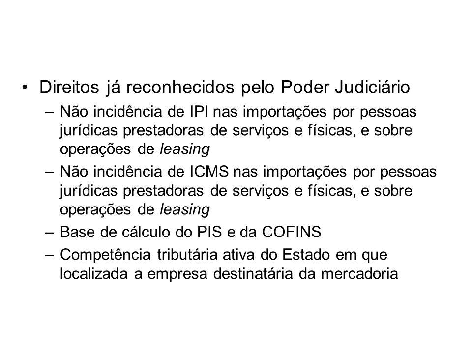 Direitos já reconhecidos pelo Poder Judiciário –Não incidência de IPI nas importações por pessoas jurídicas prestadoras de serviços e físicas, e sobre