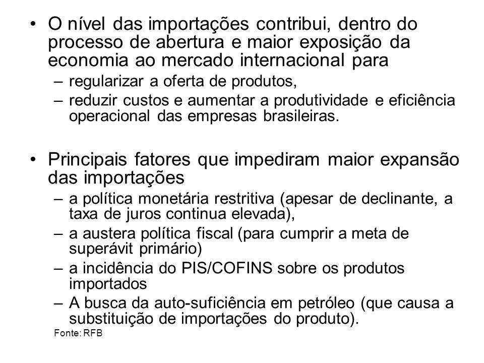 O nível das importações contribui, dentro do processo de abertura e maior exposição da economia ao mercado internacional para –regularizar a oferta de produtos, –reduzir custos e aumentar a produtividade e eficiência operacional das empresas brasileiras.