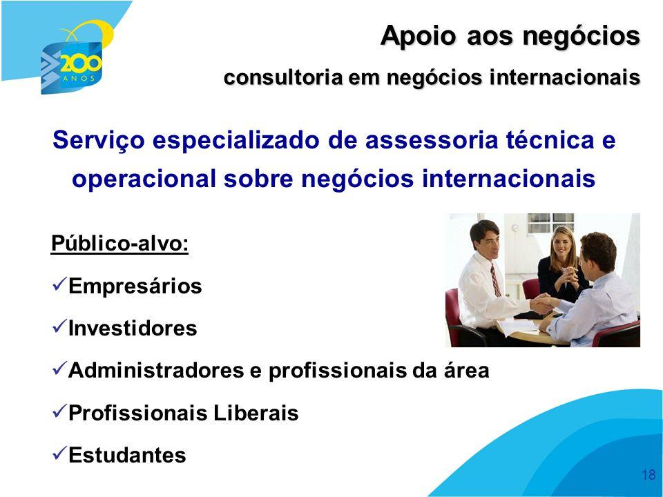 18 Serviço especializado de assessoria técnica e operacional sobre negócios internacionais Público-alvo: Empresários Investidores Administradores e profissionais da área Profissionais Liberais Estudantes Apoio aos negócios consultoria em negócios internacionais