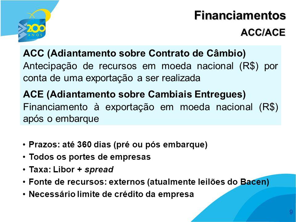 9 ACC (Adiantamento sobre Contrato de Câmbio) Antecipação de recursos em moeda nacional (R$) por conta de uma exportação a ser realizada ACE (Adiantam